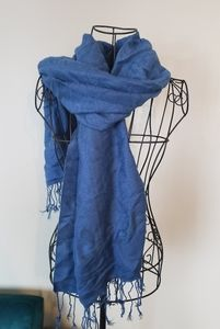 Dark blue fringed scarf